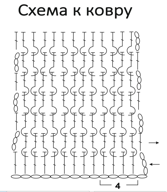 Схема вязания прямоугольного ковра