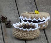 Корзинка (шкатулка) из сизали, джута, шпагата или шнура. Вязание крючком