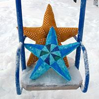 Лоскутная подушка-звезда